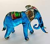 Studio one Handmade Animal Figurine Art Glass Blown Beautiful Blue Elephant Best Gift Figurine Collection
