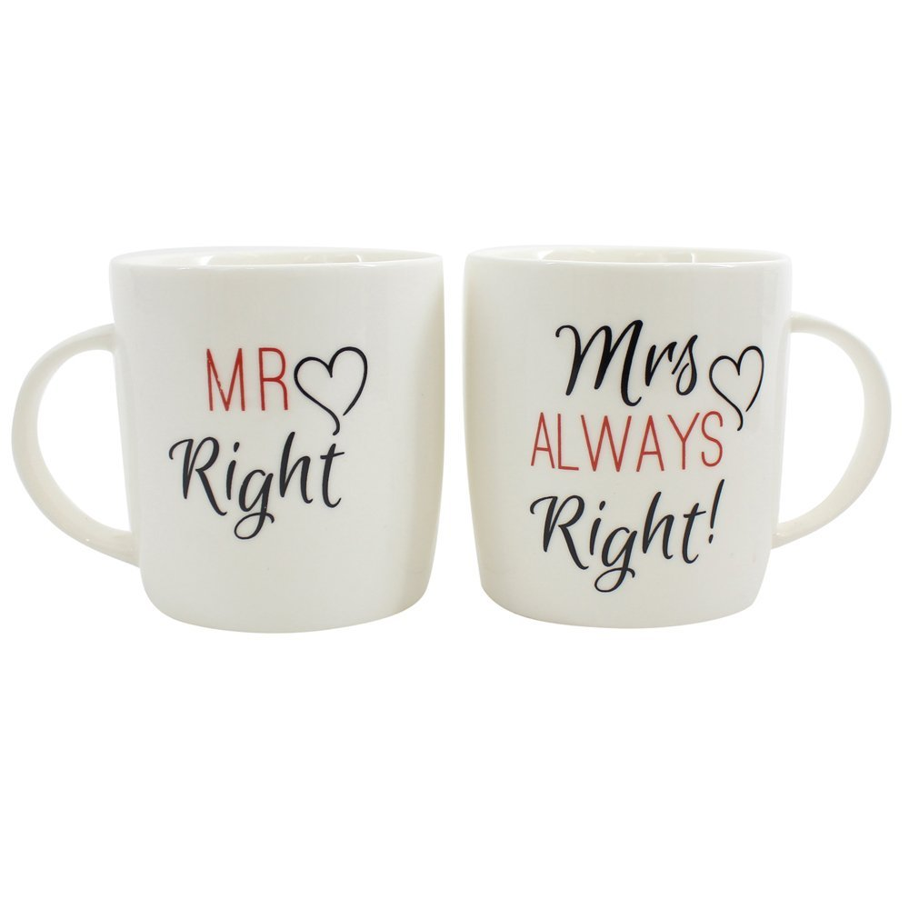 Mr Right and Mrs Always Right Novelty Set of Two Cute Coffee Tea Mugs Perfect for Wedding or Anniversary Celebration