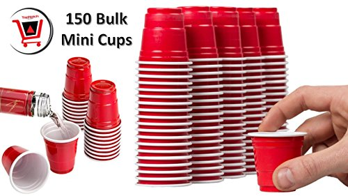 Disposable Shot Glasses - Mini Solo Cups (150 Bulk Red Cups) - Plastic Shot Cups - Jello Shots - Jager Bomb Cups - Beer Pong - Perfect for Serving Condiments, (Bulk Glass Cups)