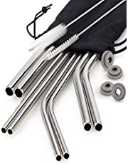 Chefast Stainless Steel Drinking Straws - 4x2 Combo Kit - Reusable Metal Straws for Everything From 30 oz Yeti Tumblers to Thick Smoothies - Cleaning Brushes, Silicone Rings, and Long Case Included