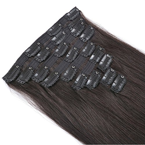 20'' Clip in Human Hair Extensions Natural Hair Clip in Extensions for Thick Hair Full Head Off Black #1B 10pieces 220grams/7.7oz by BEAUTY PLUS (Image #4)'