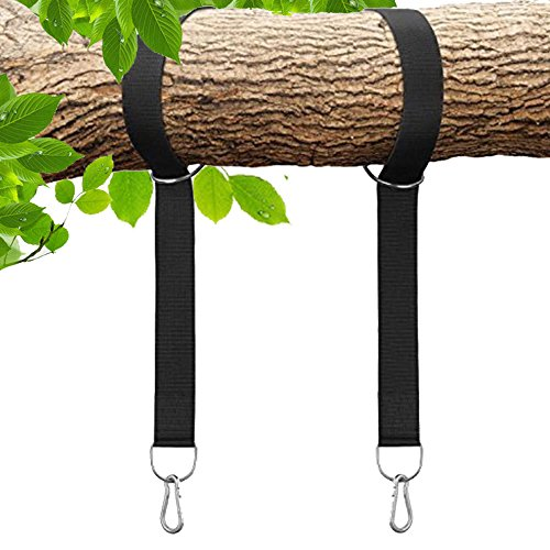 Rhino Rope Toy - Tree Swing Straps Hanging Kit – Two 4ft Straps, Holds 2800 lbs (SGS Certified), Fast & Easy Way to Hang Any Swing – Outdoor Swing Hangers (Solid Black)