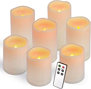 "Flameless Candles, Led Candles ,Battery Operated Candles Electric Set of 7(H 4""4""4""5""5""6""6"" x D 3"") Ivory Resin Candles With Remote Timer Waterproof Outdoor Indoor candles(Made Of Plastic)"