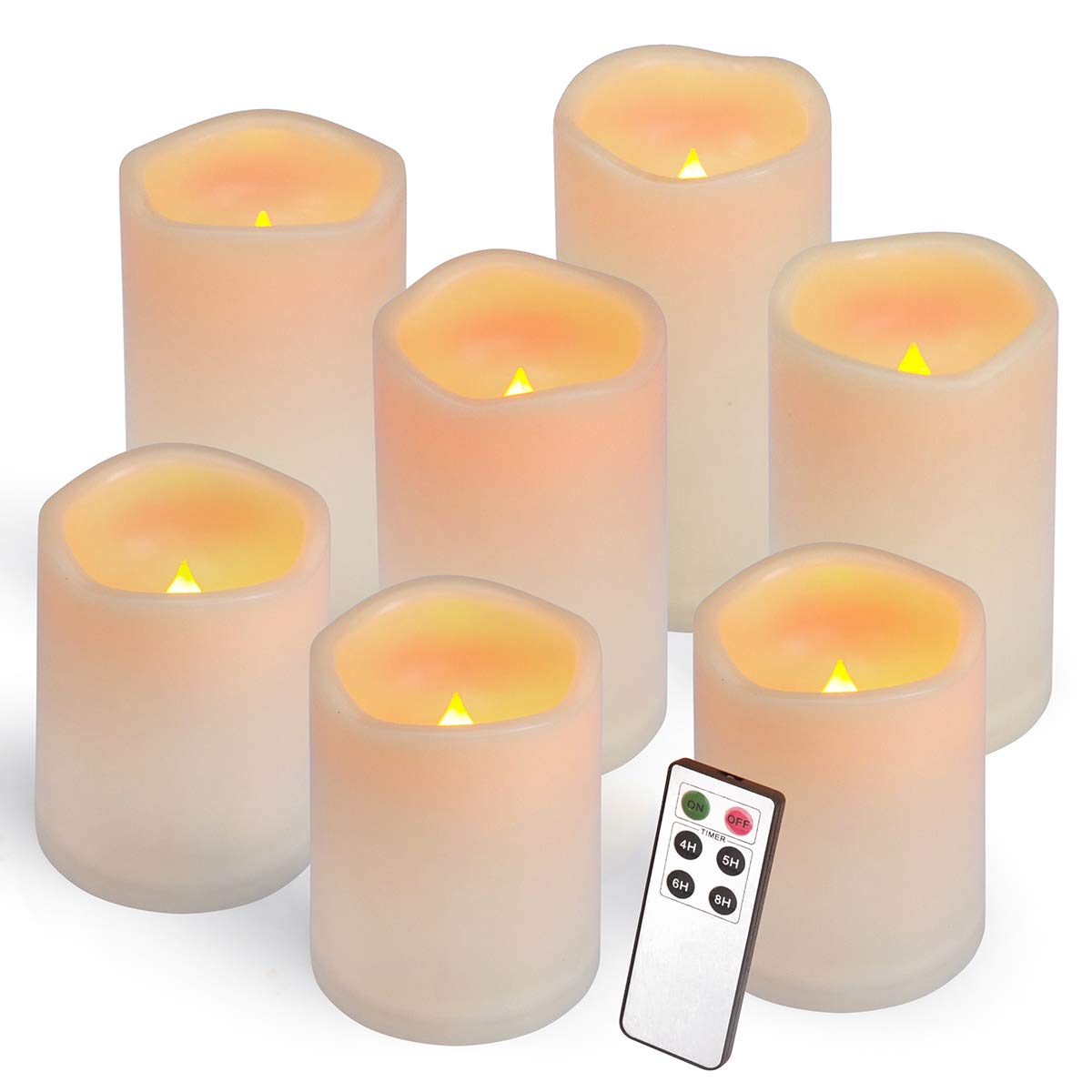 Aignis Flameless Candles, Led Candles Set of 7(H 4'' 4'' 4'' 5'' 5'' 6'' 6'' x D 3'') Ivory Resin Candles Battery Candles with Remote Timer Waterproof Outdoor Indoor Candles by Aignis