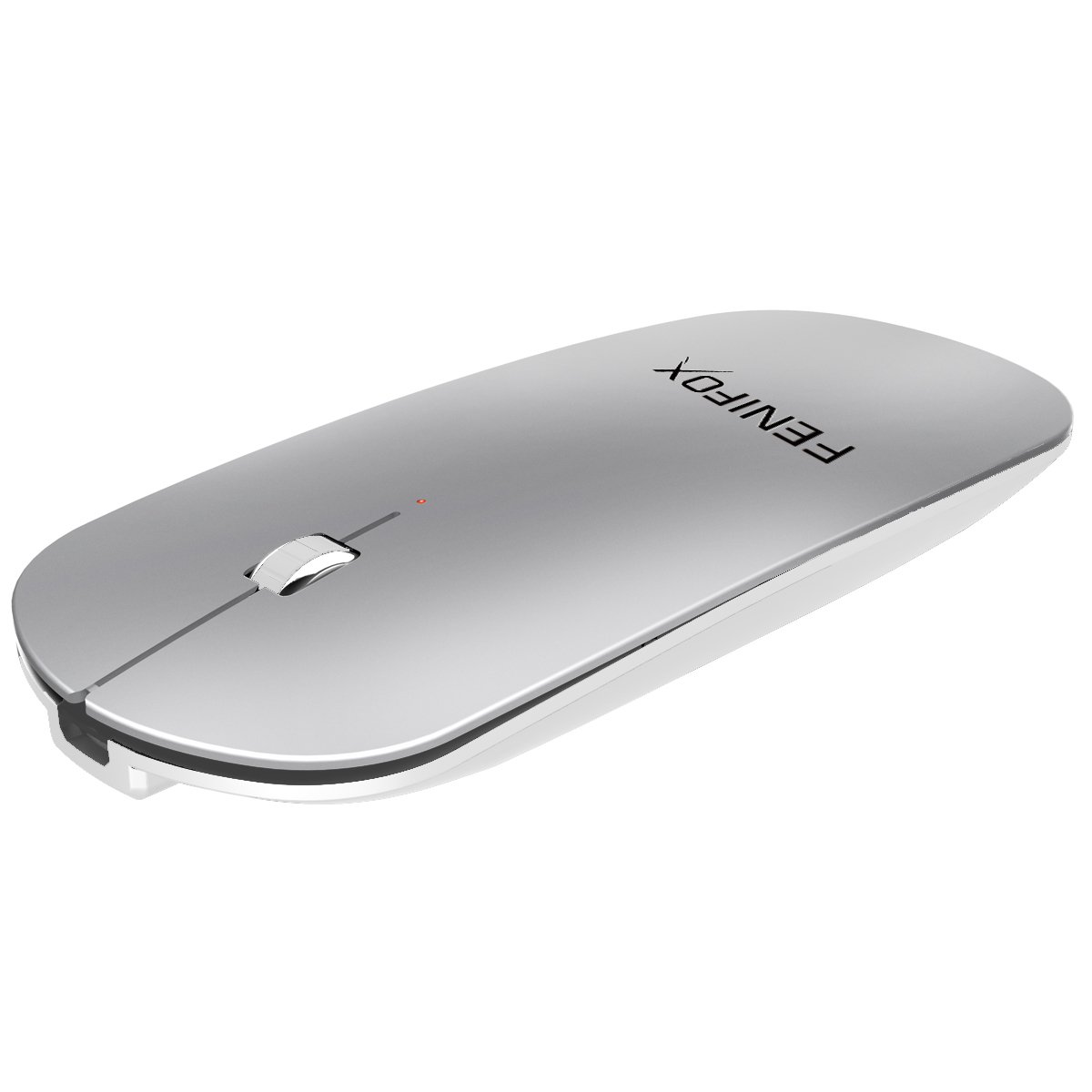 Bluetooth Mouse, FENIFOX Slim Mini Portable Flat Travel Wireless Mouse Whisper Quiet Mobile Optional Mice Rechargeable Ultra-Thin Laptop,Tablet,MacBook,Notebook,PC (Silver White)