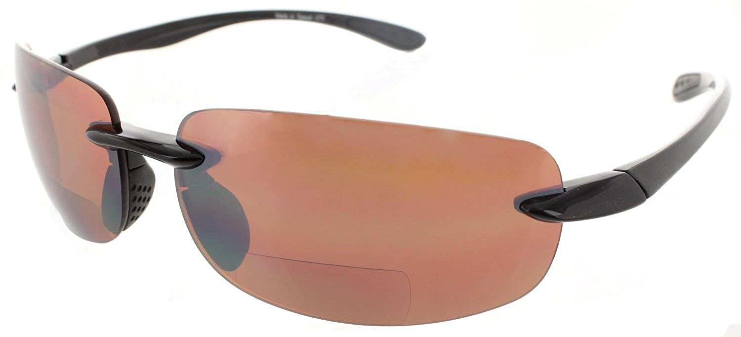 ed15cce42ec Amazon.com  Fiore Island Sol Bifocal Reading Sunglasses Rimless TR90 Readers  for Men and Women  Non-Polarized Black Frame Copper Day Driving Lens