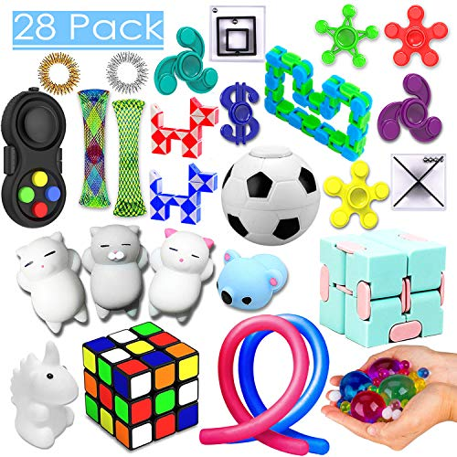 28 Pack Sensory Toys Set, Relieves Stress and Anxiety Fidget Toy for Children Adults, Special Toys Assortment for Birthday Party Favors, Classroom Rewards Prizes, Carnival, Piñata Goodie Bag -