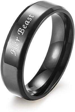 Netmetoo His Hers Couples Rings Promise Rings Her King His Queen Engraved Girlfriend Boyfriend Gift Black Silver Titanium Steel