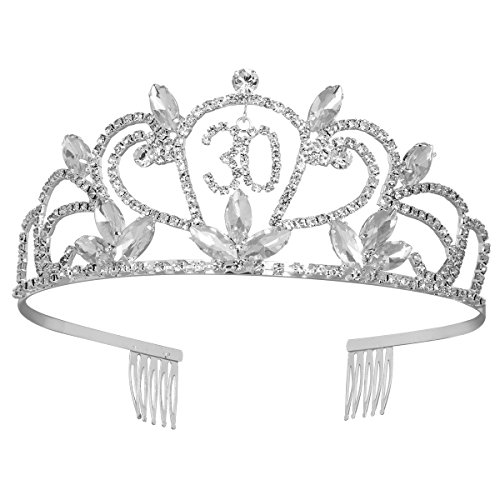 Frcolor 30th Birthday Tiara Bling Rhinestone Tiara 30th Birthday Crown for Hair Decoration (30th Anniversary Boxed)