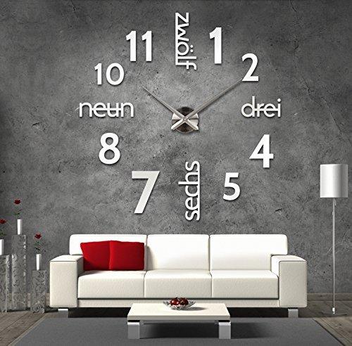 XXL 3D Silberne Riesen Designer Wanduhr Wohnzimmer Dekoration Wandtatoo mit deutschem Ziffernblatt aus Acryl
