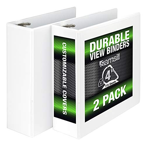 Samsill Durable 3 Ring View Binders, 4 Inch Locking D-Ring - Holds 800 Sheets, PVC-Free/Non-Stick Customizable Cover, White, Pack of 2