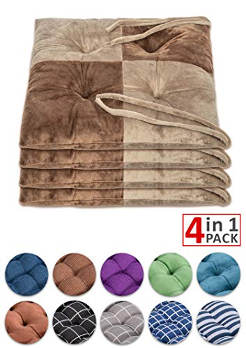 "WONDER MIRACLE 4 in 1 Pack Chair Pads | Seat Cushion,Machine Wash & Dryer Friendly (F-Mix Color 16""×16"", Chocolate & Mocha)"