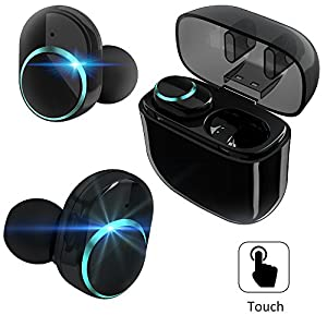 True Wireless Earbuds,Bluetooth Headphones TWS Touch Control BT V4.2 Headset with Mic Charging Box Sweatproof Mini Stereo Sports Gym Running Earphones Dual In-Ear Phone Earpieces for iPhone X 7S IOS