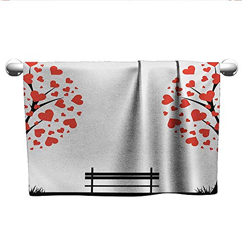 alisoso Tree of Life,Best Bath Towels Trees with Hearth Shaped Leaves and Bench Love Valentines Romance Design Beach Towels Black Red White W 24