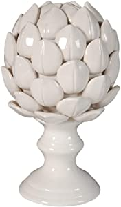 Benzara, White BM180938 Ceramic Artichoke On Pedestal Base