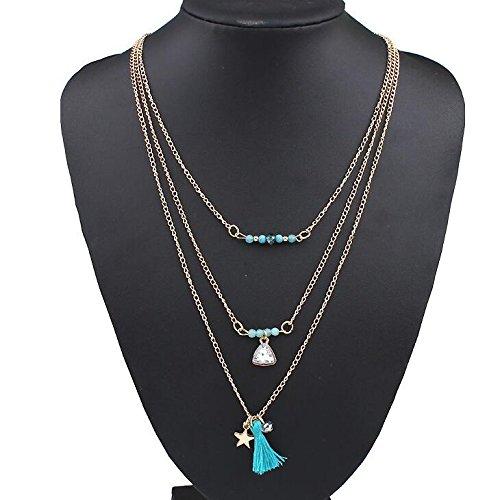 Chaîne de multiples niveaux de collier clavicule pull chaud et le vent rétro - esthétique Beach un mode simple disposition Pearl