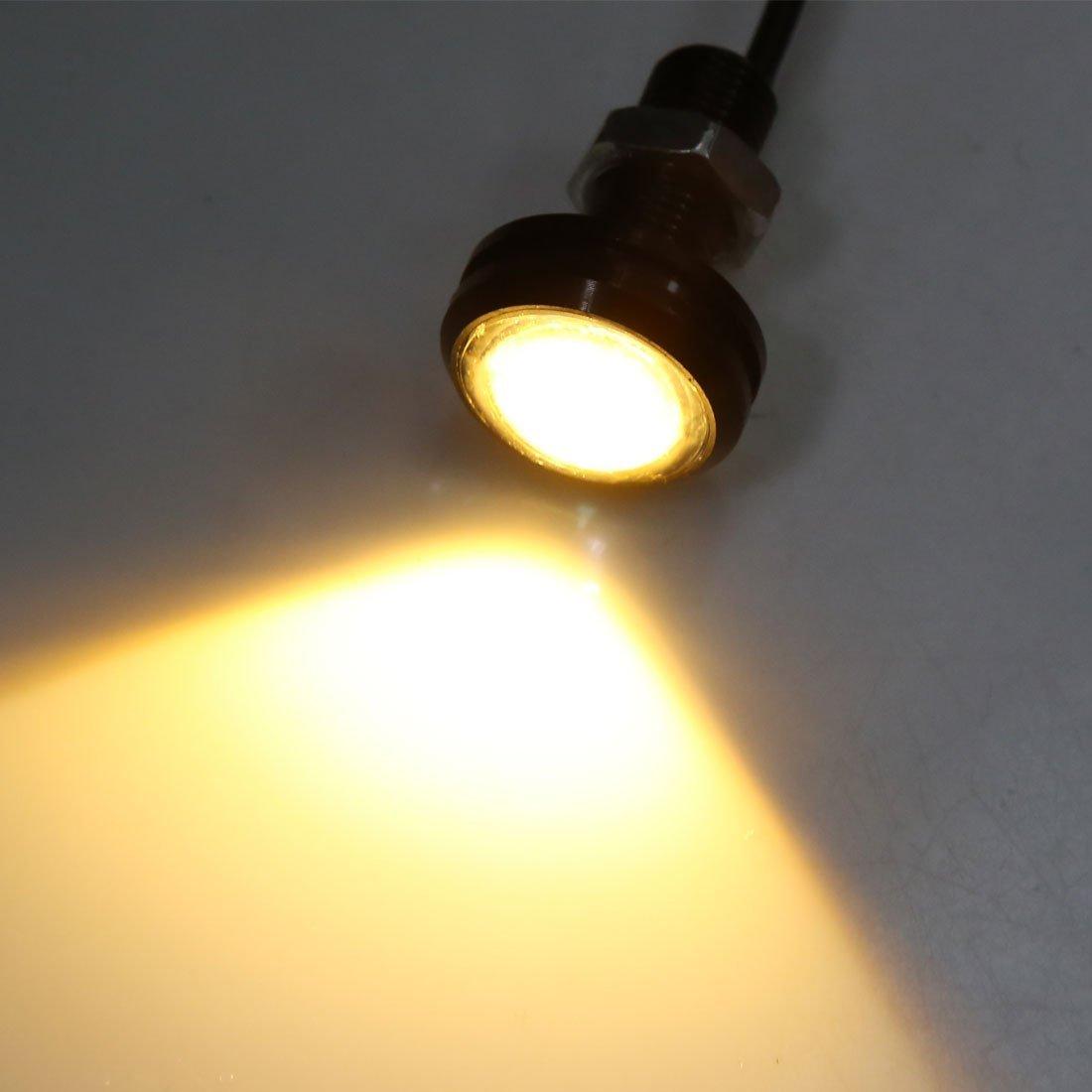 Amazon.com: eDealMax 6pcs 23mm Eagle Eyes LED de la luz de niebla del coche de Motor DRL de copia de seguridad de Los bulbos de Color ámbar 1.5W: Automotive