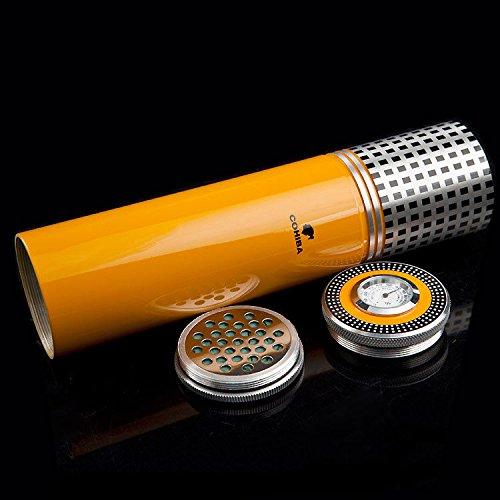 NEW COHIBA Yellow Aluminium Alloy Cigar Jar Tube Humidor W/ Humidifier Hygrometer (Yellow)
