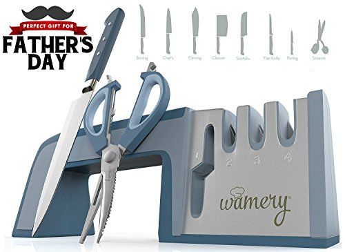 Sharp Only (Knife, Shears and Scissors Sharpening System. Easy to use. Safe Handle. Stainless Steel Blades. For every Kitchen tool. 4 in 1 Diamond Coated & Fine Ceramic rod. Professional chef sharp in seconds!)