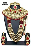 Wedding wear Fabulous Style Gold Plated Kundan Stone Indian Necklace Earrings Bridal Set Partywear Jewelry