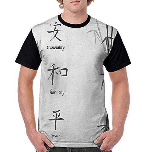 Women's Short Sleeve Shirts,Bamboo,Illustration of Chinese Symbols for Tranquility Harmony Peace with Bamboo Pattern, Black White S-XXL Tops for Lady Girls ()
