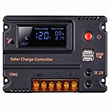 Hompie LCD Solar Charge Controller, Intelligent Solar Panel Regulator Adapter with 2 MC4 Solar Connectors, Large LCD Screen Display and Overload Protection and Temperature Compensation