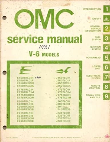 1981 omc service manual for v 6 models evinrude johnson outboard rh amazon com 150 HP Johnson Outboard Parts Johnson 150 HP Outboard Engine