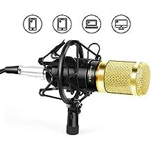 EARAMBLE Professional Studio Broadcasting Recording Condenser Microphone Recording Microphone with Shock Mount (Black)