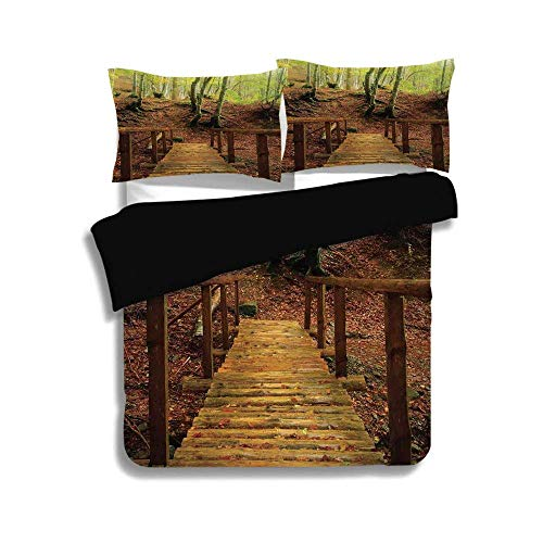 Birch Nursery River - VAMIX Black Duvet Cover Set Twin Size,Apartment Decor,Weathered Wooden Bridge Over River Leads to a Footpath Between Birch Trees in Autumn Decorative,Decorative 3 Pcs Bedding Set by 2 Pillow Shams