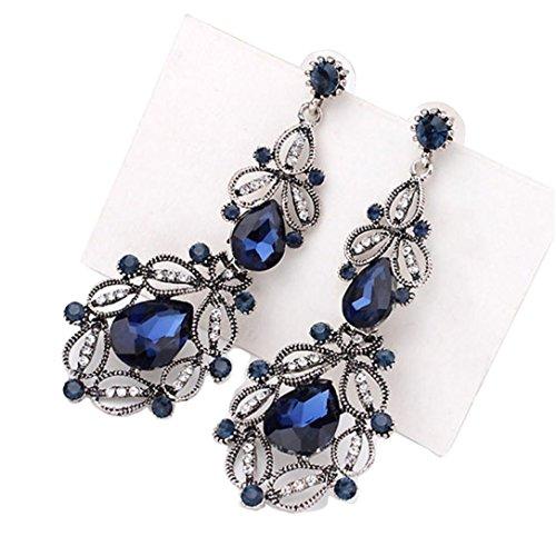 Vintage Earrings, Muranba Women's Vintage Inspired Crystal Floral Hollow Teardrop Chandelier Pierced Dangle Earrings (Blue)
