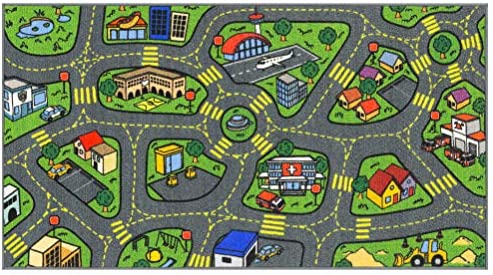 Jungtier Fun Time Retro City Traffic Car Road Map Educational Learning & Game Area Rug Carpet for Kids and Children Bedrooms and Playroom, 2′ 7″ x 5′ 0″, Multi