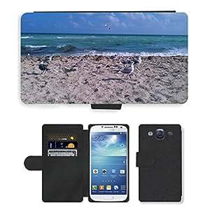 PU LEATHER case coque housse smartphone Flip bag Cover protection // M00135767 Sand Gaviotas pájaro Océano Atlántico // Samsung Galaxy S3 S III SIII i9300
