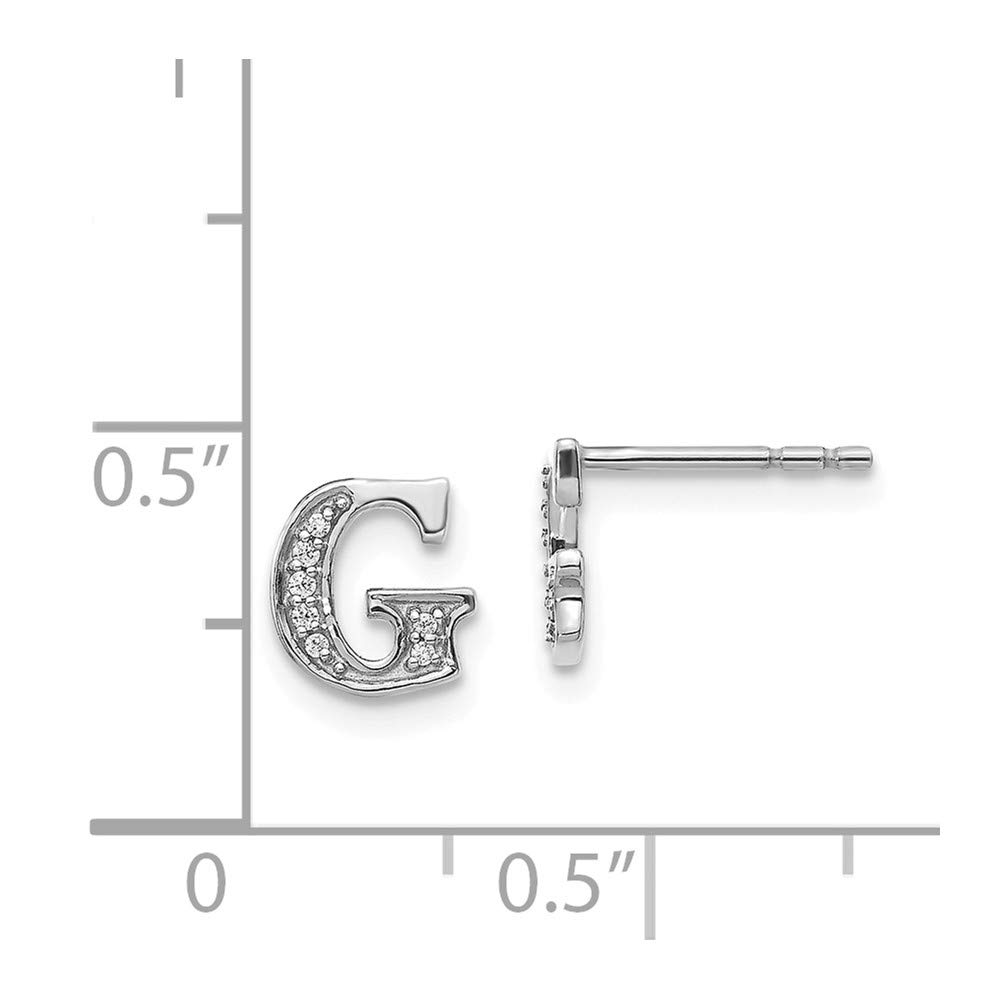 14k White Gold Diamond Initial Letter G Earrings 1//20-Carat ~ from Roy Rose Jewelry