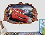 Cars 3 Lightning MCqueen 3D Sticker Wall Decal Smashed Vinyl Decor Mural Movie - Broken Wall - 3D Designs - AL32 (Giant (Wide 50'' x 30'' Height))