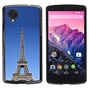 Paccase / SLIM PC / Aliminium Casa Carcasa Funda Case Cover - Architecture The Eiffel Tower Tour - LG Google Nexus 5 D820 D821