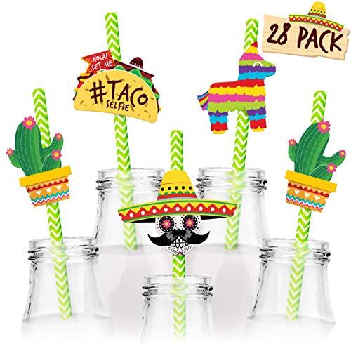 Joyousa Fiesta Party Supplies 28pc Straw Set - Mexican Theme, Cinco de Mayo Party Favors Decorations - Mini Sombrero, Cactus, Taco Cupcake Toppers ()