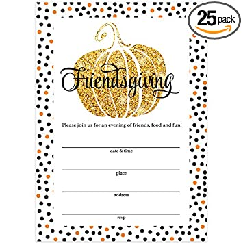 Thanksgiving Dinner Invitations Envelopes Pack Of 25 Friendsgiving Welcome Close Friends To Share A Traditional Autumn Food Feast Large 5 X 7