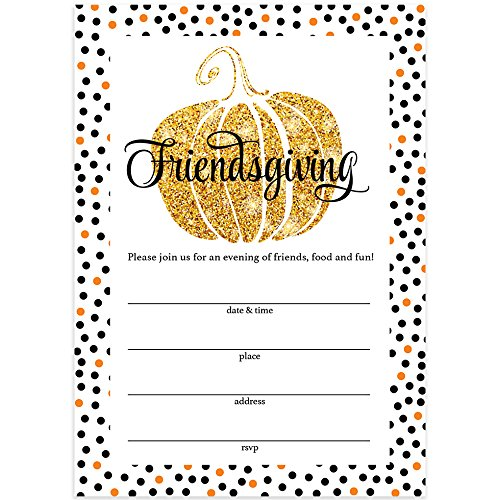 Thanksgiving Dinner Invitations & Envelopes (Pack of 25) Friendsgiving Welcome Close Friends to Share A Traditional Autumn Food Feast Large 5 x 7