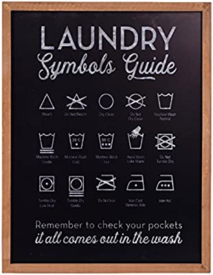 NIKKY HOME Metal Laundry Symbols Guide Wall Art Décor Sign