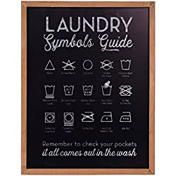 NIKKY HOME Metal Laundry Symbols Guide Wall Art Decor Sign