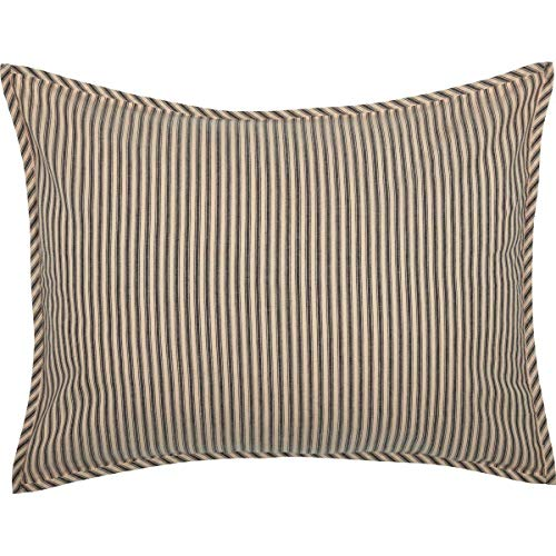 (VHC Brands Farmhouse Bedding Miller Farm Charcoal Ticking Stripe Cotton Patchwork Chambray Standard Sham, Dark Creme White (Renewed))