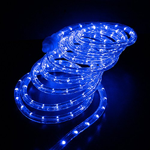 West Ivory 10', 25', 60', 150' ft (150' feet) Blue LED Rope Lights w/ 8 Mode Controller 2 Wire Accent Holiday Christmas Party Decoration Lighting | UL ()