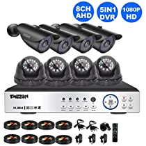 TMEZON 8CH AHD 1080P Security DVR System Included 4 Bullet and 4 Dome High 2.0MP CCTV Cameras 2TB HDD( IP66 Weatherproof, Night Vision, Motion Detection & Email Alert)