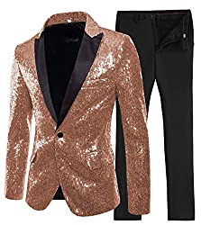 Men's 2 Pieces Sequin Slim Fit Suit