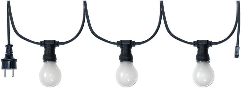 Illu Lichterkette Komplettset E27 Fassungen für Biergarten Party Weihnachten Girlanden schwarz verlängerbar (20 Meter 20 Fassungen) 20 Meter 40 Fassungen