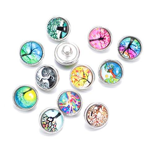 Soleebee click-button aluminium verre 12mm pression boutons femme Un groupe de 12 - Arbre de Vie 2