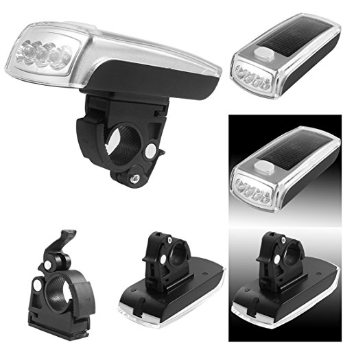1 Pcs Tops Popular Style 3 Mode 4x LED Bike Lights Bicycle Lamp Easy to Mount Night Safety Solar and USB 2.0 Rechargeable