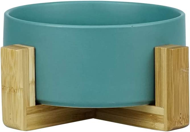LIONWEI LIONWELI Ceramic Cat Bowl with Wood Stand No Spill Pet Food Water Feeder Cats Small Dogs