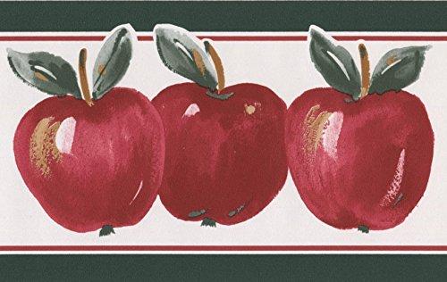 Red Apples Pine Green Trim White Wallpaper Border Retro Design, Roll 15' x (Green Trim Wallpaper Border)