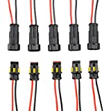 Diageng 5 Kit 2 Pin Way Car Waterproof Electrical Connector Plug with Wire AWG Marine (Black with black and red cables)